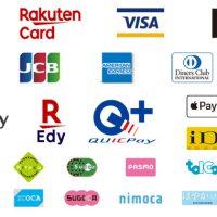 VISAカード、マスターカード、JCBカード、アメックスカード、ダイナースクラブカード、ディスカバーカード、PayPay、楽天Edy、Android Pay、Apple Pay、QUICPay、iD、nanaco、Kitaca、Suica、PASMO、tolca、,manaca、ICOCA、SUGOCA、nimoca、はやかけん
