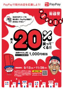ただいまPayPayでは 「街のお店を応援!最大1,000円相当 20%戻ってくるキャンペーン」を開催中。 贈物広場セノヲでは10月1日以降も変わらずPayPayをご利用いただけます。